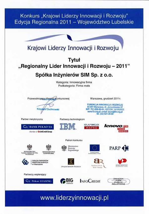SIM Regionalnym Liderem Innowacji i Rozwoju 2011