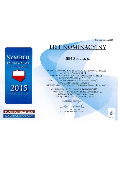 """Nominacja Spółki Inżynierów SIM Sp. z o.o. do tytułu """"SYMBOL 2015"""""""